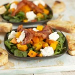 Warm Squash and Ricotta Salad with crispy bacon