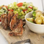 Lamb Chops with new potatoes and avocado salad