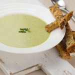 Leek and pea soup recipe with sesame and poppy seed toasts
