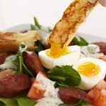 Warm Chorizo Salad with egg and ciabatta