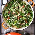 Chorizo with Spring Greens, bulgar wheat and sultanas Recipe