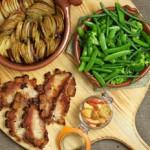 Pork steaks with apple chutney and thin cut roast potatoes