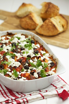 Aubergine and feta bake recipe