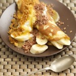 Banoffee Pancakes with toffee sauce, cream and chocolate