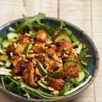Warm Chicken and Nut Salad with sweet and sour sauce