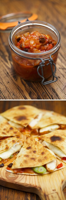 spicy chicken quesadillas chutney