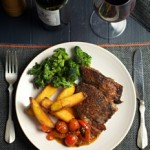 Gluten Free Valentine's Steak Dinner with Polenta Chips and Caramelised onion and red pepper sauce (Part 1 of 2)