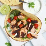 Gluten-free Salmon Tortillas with yoghurt dressing