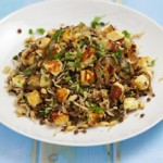 Rice with Caramelised Onions, Pine Nuts and Halloumi
