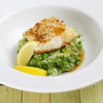 Gluten-free Coconut Cod with lemon sauce and broccoli mash