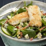 Gluten-free Coconut Coated Cod with a Blue Cheese Salad