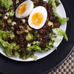 Gluten-free Chorizo and Lentil Salad with soft boiled egg